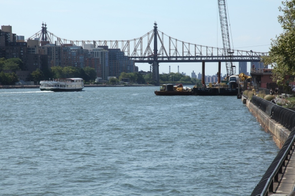 Circle Line sails down the East River toward the 59th Street Bridge